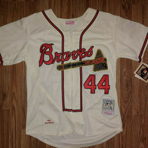 Hank Aaron Throwback 1957 Braves Jersey S Stitched